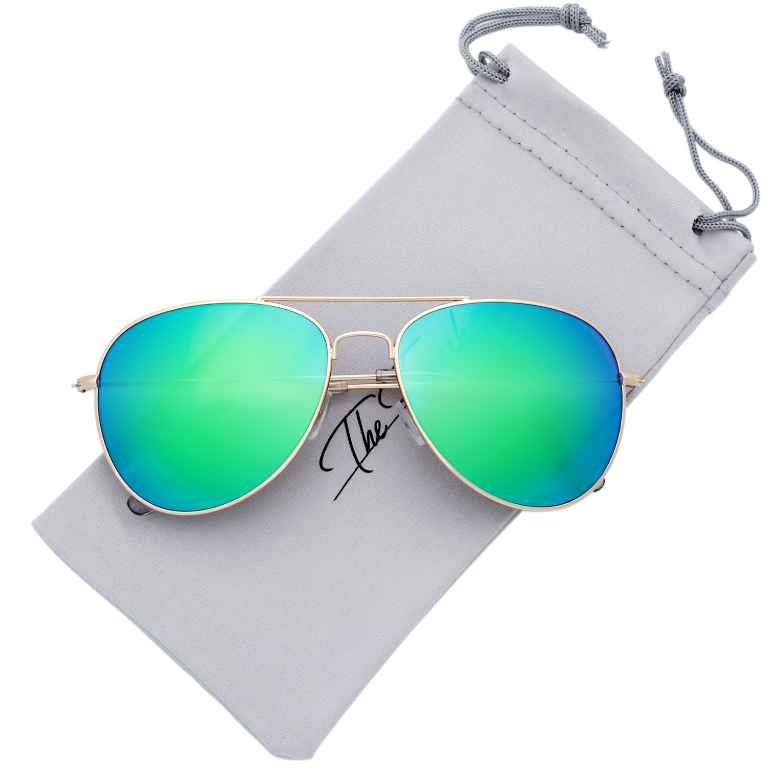 The Fresh Classic Large Metal Frame Mirror Lens Aviator Sunglasses with Gift Box (GOLD, GREEN)