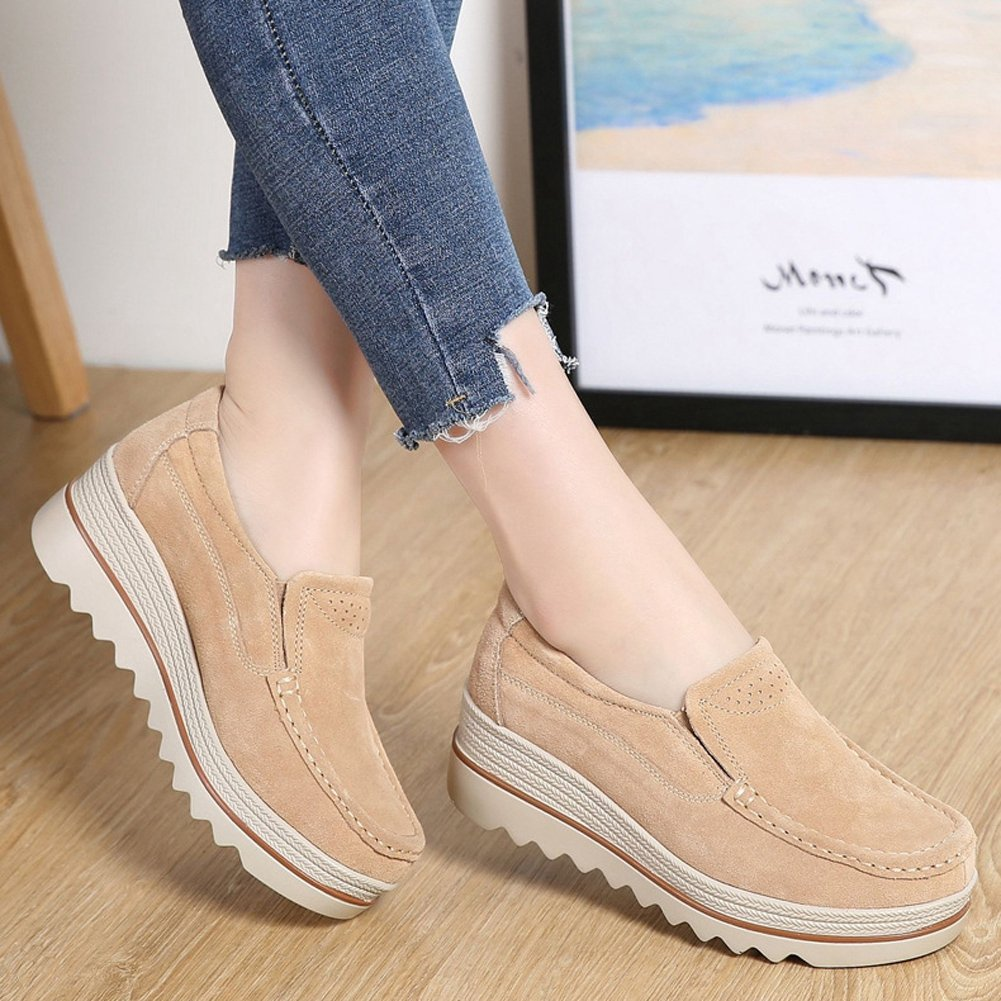 T-JULY Women's Loafers Shoes Mid Mid Mid Wedge Round Toe Casual Suede Platform B07BT98K6S Platform df14ea