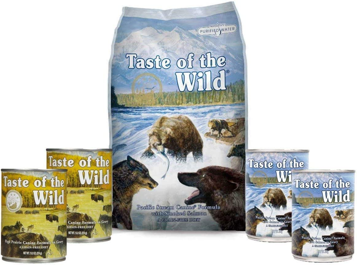 Taste of the Wild Dog-Food Pacific Stream Puppy Food Grain Free 6 Pack 1 5lb Bag 4 12.5 oz Cans 1 Lid