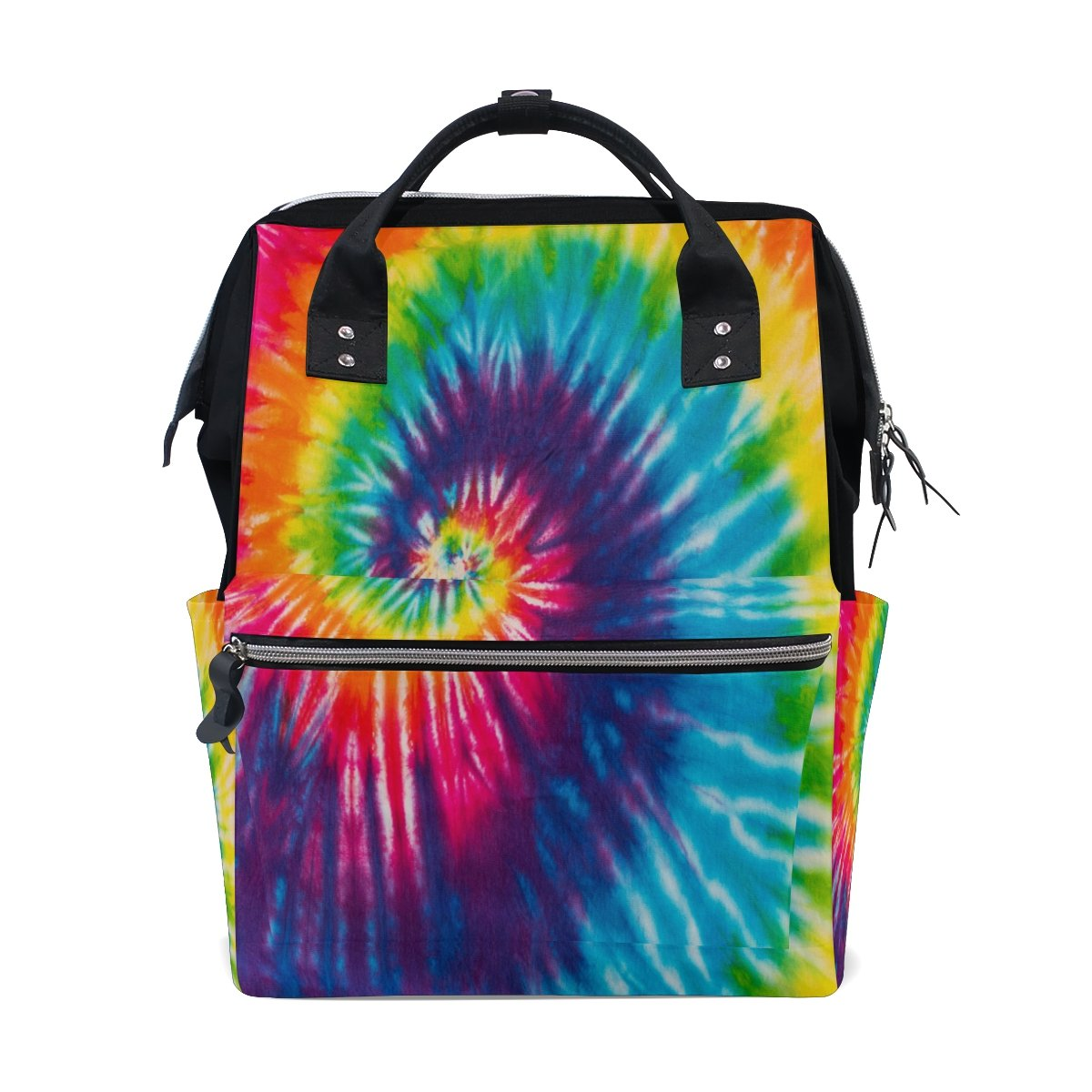 WOZO Abstract Swirl Tie Dye Color Multi-function Diaper Bags Backpack Travel Bag