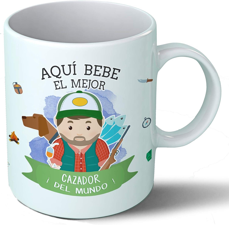 Planetacase Taza Desayuno Aquí Bebe el Mejor Cazador del Mundo Regalo Original Ceramica 330 mL