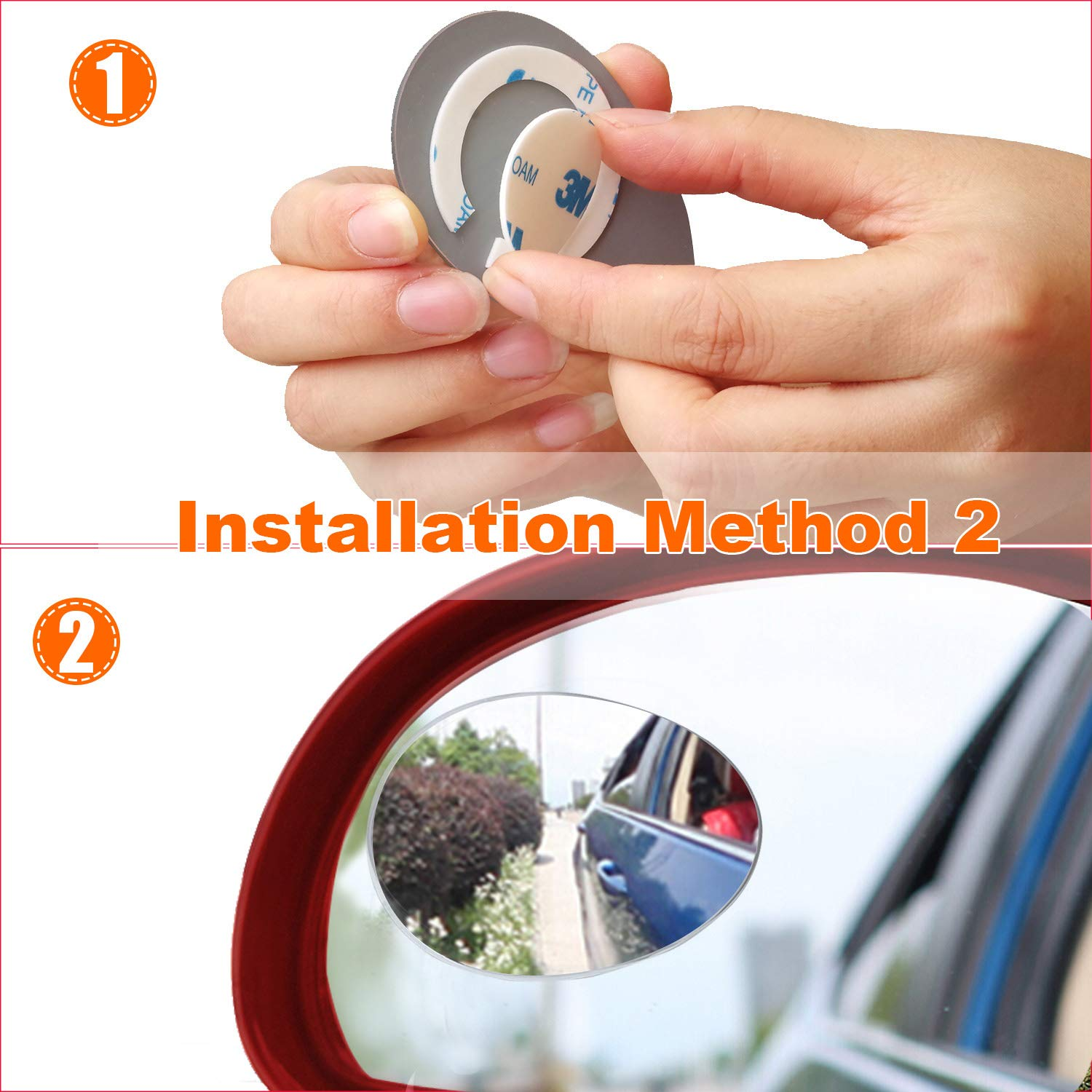 360/° Rotation Adjustable or Fixed Installed HD Glass Wider View Frameless Convex Rear View Mirrors Stick on KRIBIN 4 Pack Blind Spot Mirror