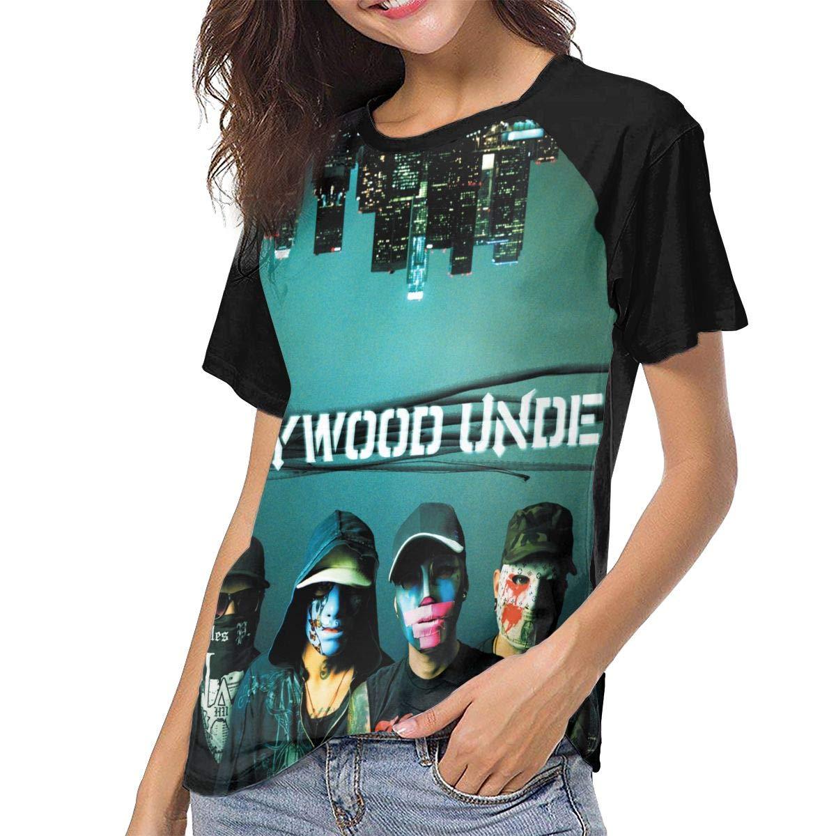 StephaDHampton Hollywood Undead Womens Casual Baseball Short Sleeves Tshirts Raglan Sleeve Pattern T Shirts Black