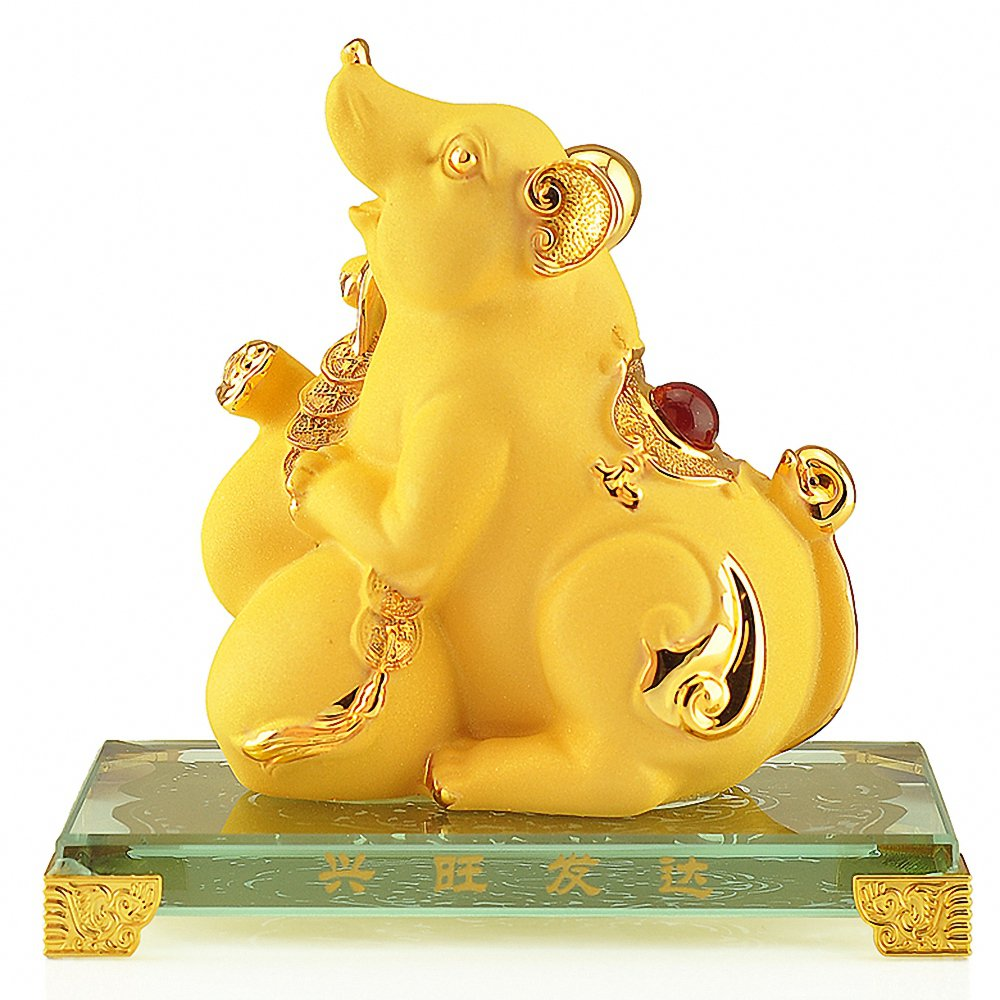 Wenmily Chinese Zodiac Rooster Year Golden Resin Collectible Figurines Table Decor Statue