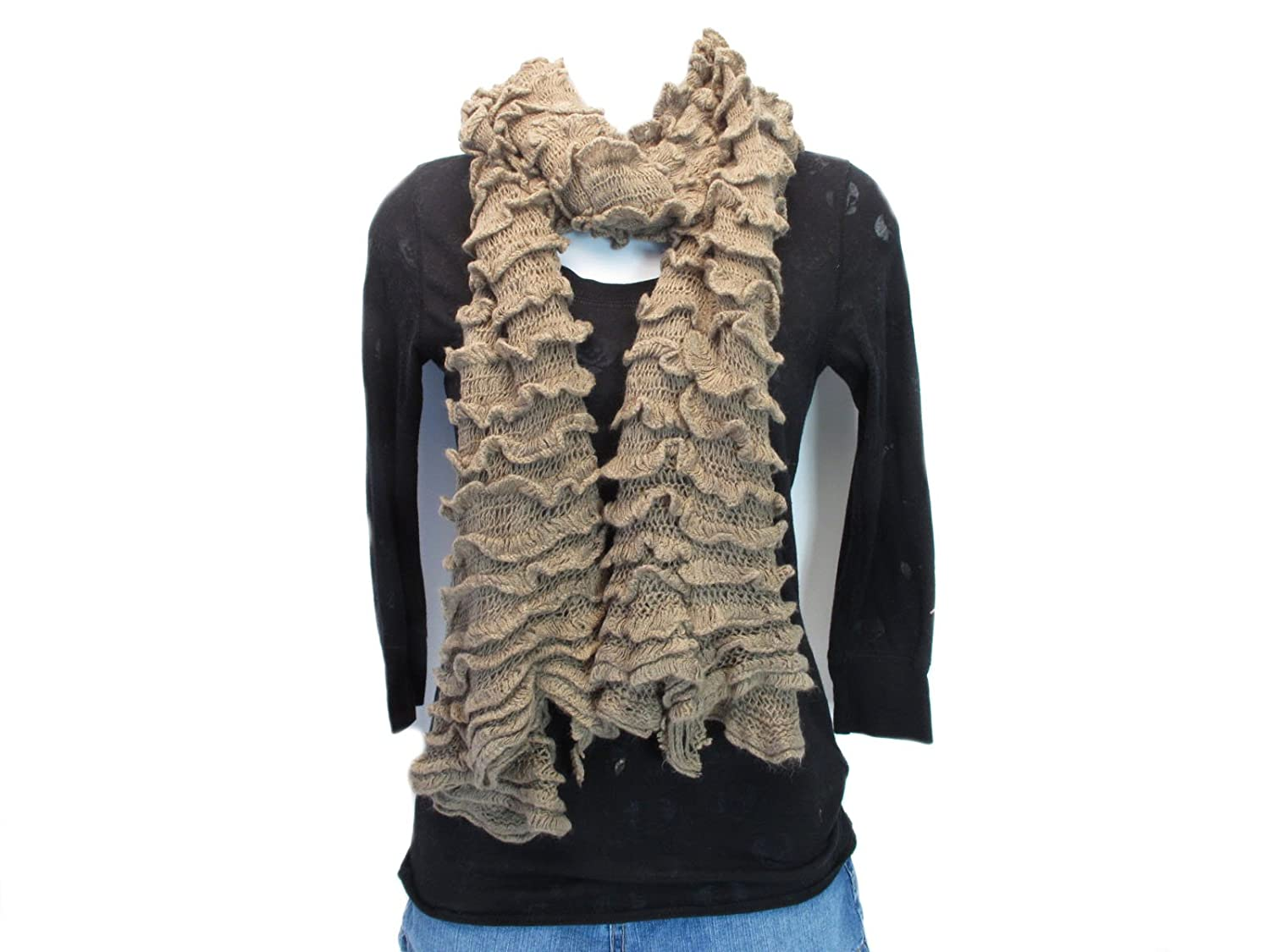 Fashion Double Layers Multi-function Tiered Infinity & Open Ends Scarf- Med Mocha