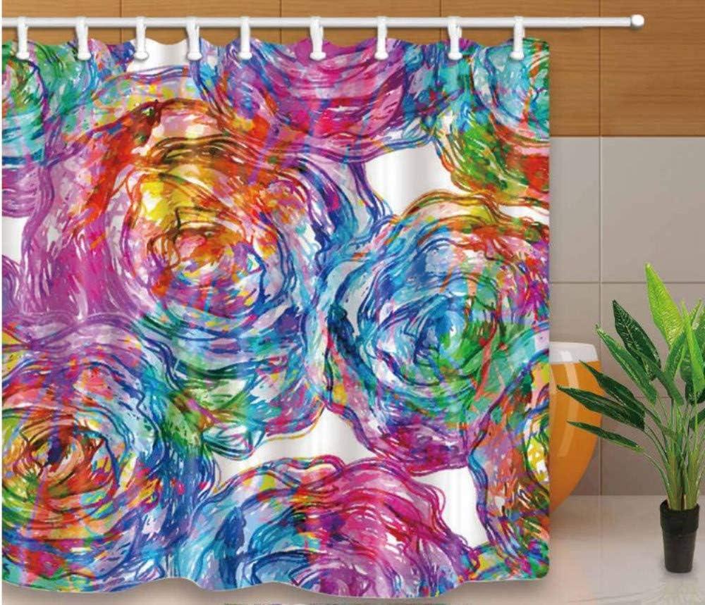Yiciyici Diseño De Arte Cortinas De Ducha Flores Acuarela Pintura Mamparas De Baño Decoración para El Hogar Resistente Al Agua Y Al Moho con Ganchos Lavables-180(H) X200(W): Amazon.es: Hogar