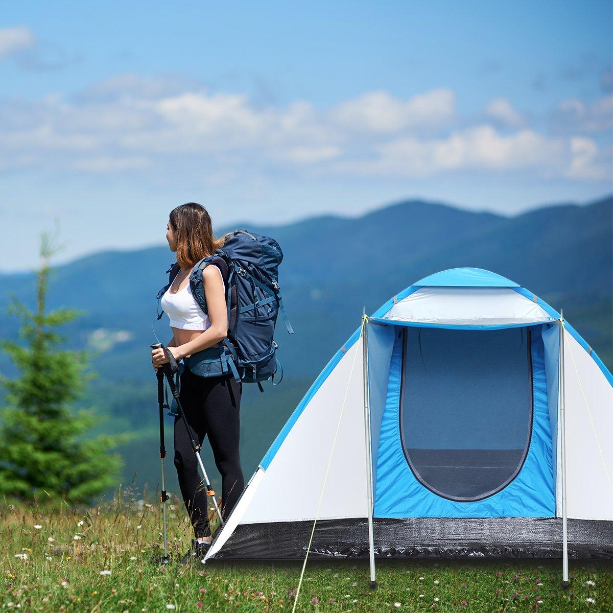 2-3 Persone 4 Stagioni con zanzariera Semoo Tenda Campeggio Impermeabile per Famiglia Inclusa la Borsa per Il Trasporto 310 x 240 x 130 cm Ingresso D