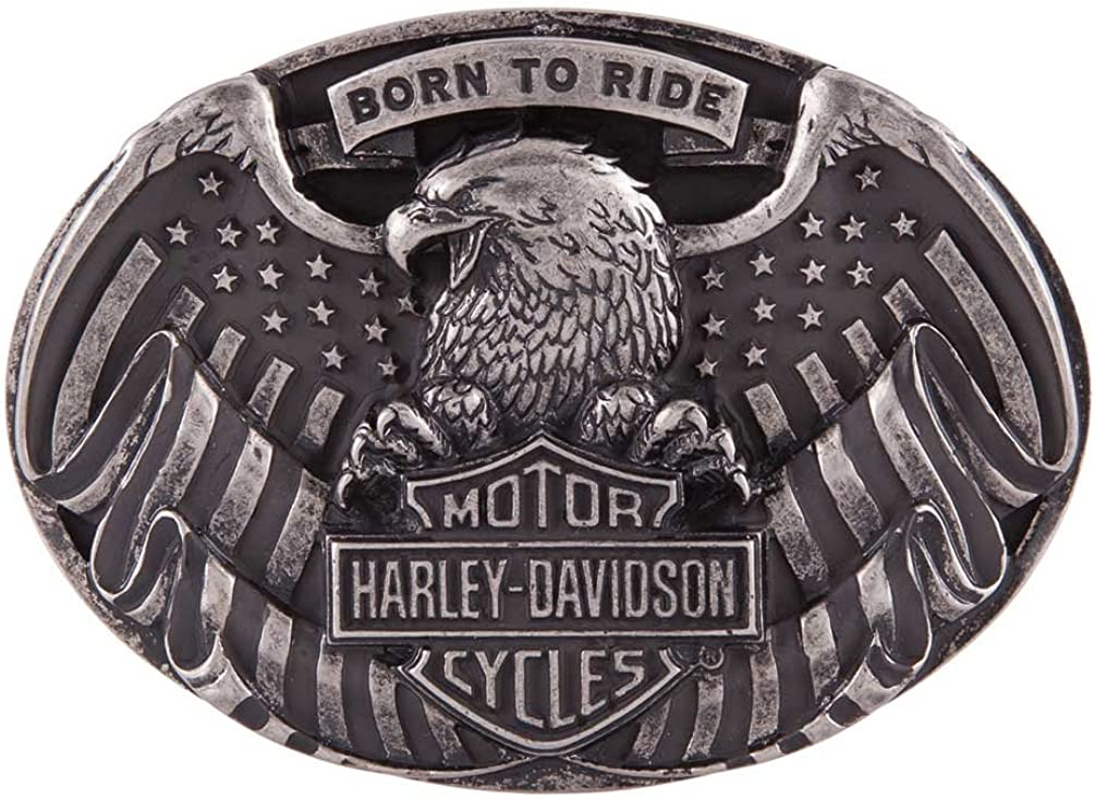Antique Nickel Finish HDMBU11417 Harley-Davidson Mens Fist Forward Belt Buckle