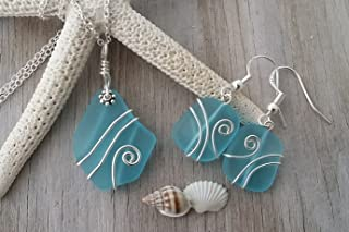 product image for Handmade in Hawaii, wire wrapped blue sea glass Necklace+Earrings Set, (Hawaii Gift Wrapped, Customizable Gift Message)