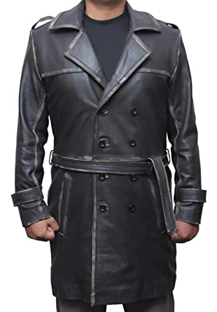69718a4e2aa Mens Rorschach Double Breasted Belted Distressed Brown Leather Trench Coat  at Amazon Men s Clothing store