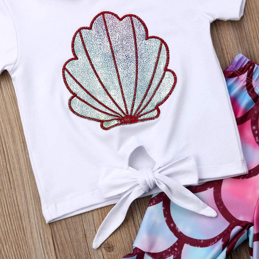 rechange 2Pcs Baby Girl Mermaid Outfits Set Shell Print Short Sleeve T Shirt Top Fish Scale Bell-Bottoms Pants