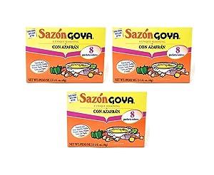 Goya Sazón Con Azafrán (3 Pack, Total of 4.23oz)