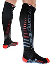 NV Compression 365 Cushion Calcetines Compresión Negros - Cushioned Compression Socks - Black - For Sports Recovery, Work, Flight - Running, Cycling, Soccer, Rugby, Fitness, Gym, Golf, Tennis, Triathlon