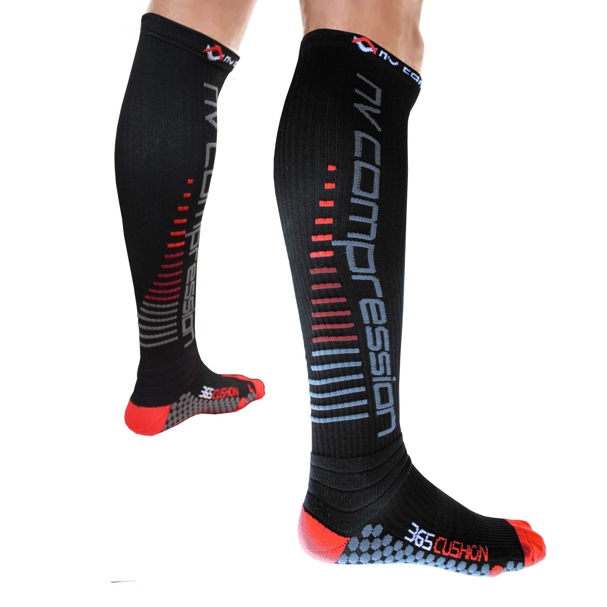 37e6244ce NV Compression 365 Cushion Calcetines Compresión Negros - Cushioned  Compression Socks - Black - For Sports