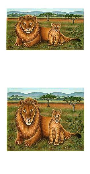 2 Bogen Lowe Und Junges Tier Thema Decoupage Bild Mit Blattern
