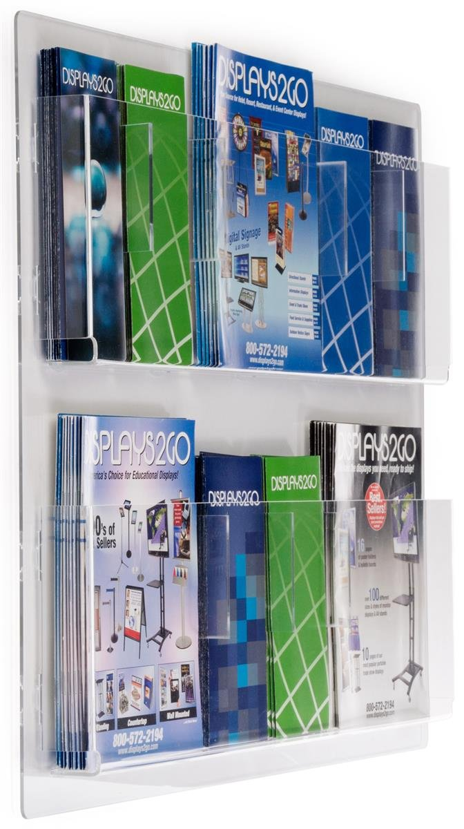 Clear Acrylic 29 x 23 inches Displays2go Hanging Magazine Rack with Adjustable Pockets RP6CLR