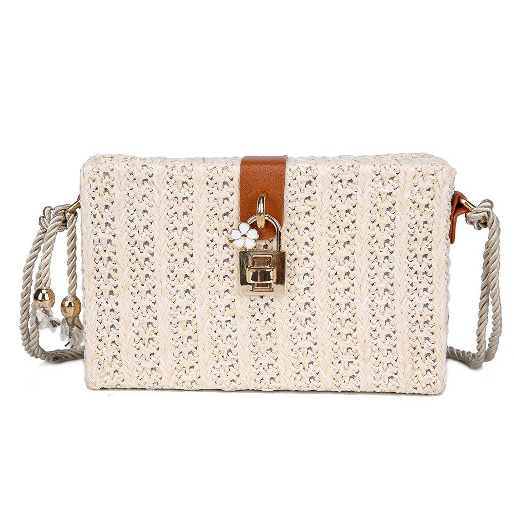 Olyphy Linen Shoulder Bag for Women, Summer Beach Bag Woven Crossbody Bag with Lock (white)
