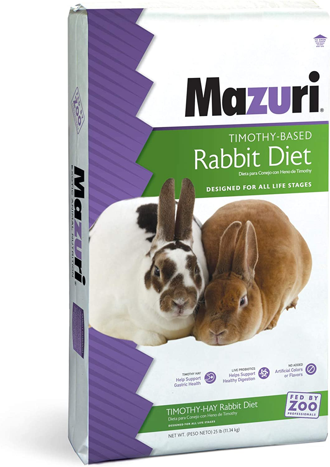 Mazuri | Nutritionally Complete Timothy Hay-Based Rabbit Food | 25 Pound (25 lb.) Bag