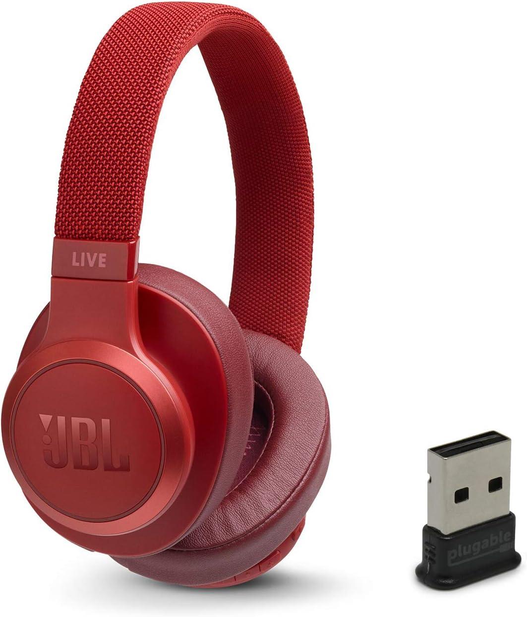 JBL Live 500BT Wireless Bluetooth On-Ear Headphones Bundle with Plugable USB-BT4LE USB 2.0 Bluetooth Adapter - Red