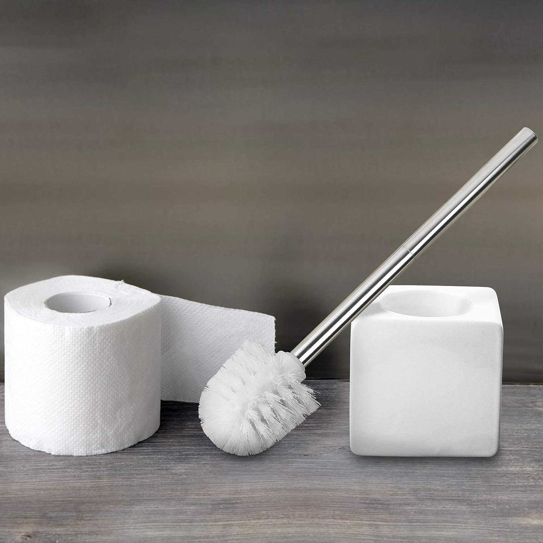 Scopino e portascopino per WC in Ceramica di Alta qualit/à Ceramica Design intramontabile Bianco Foy/é Colore: Bianco