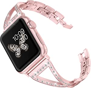Wearlizer Rose Gold Bling Womens Compatible with Apple Watch Band 40mm 38mm for iWatch SE Stainless Steel Wristband Rhinestone V-Link Replacement Strap Sleek Jewelry Bracelet Metal Series 6 5 4 3 2 1