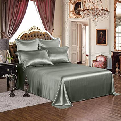 THXSILK Silk Sheet Set 4 Pcs, 19 Momme Silk Bed Sheets With Fine Embroidery,