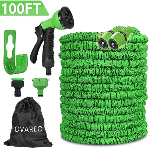 Manguera de Jardín, 100FT 30m Manguera de Jardín Extensible, Manguera de Jardín Flexible con Ducha de Mano de Jardín de 8 Funciones, Ducha Jardin Exterior Manguera Verde, para Césped, Limpiar Autos: Amazon.es: