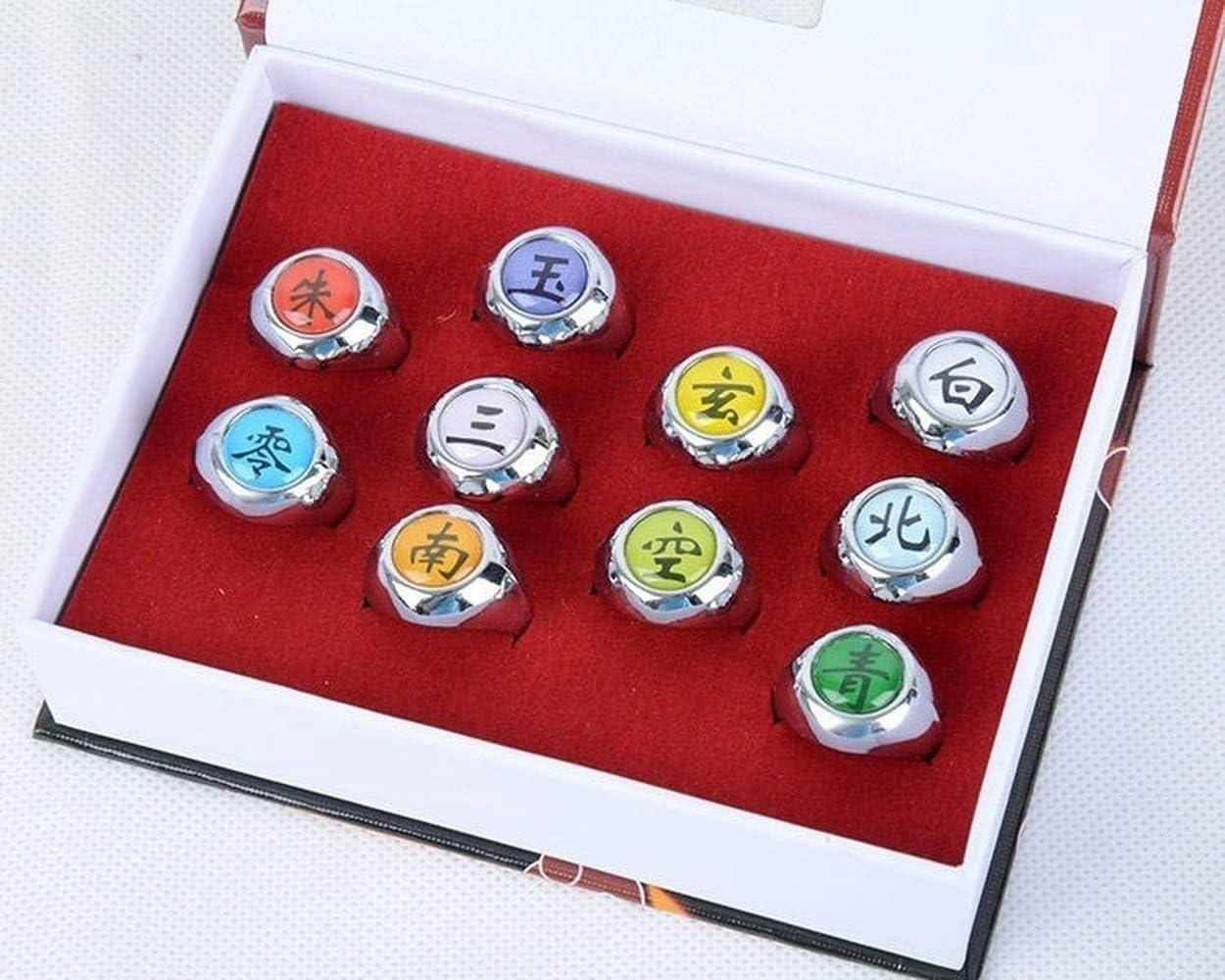 10 Pcs Naruto Rings Naruto Akatsuki Cosplay Members Ring Set New in Box