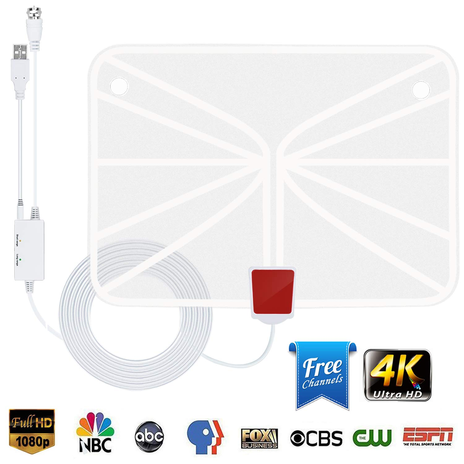 TV Antenna, Indoor HDTV Antenna 1080p/4K/2160p 60-95 Miles Range with 2018 Newest Type Switch Console Amplifier Signal Booster, USB Power Supply And 16.5 ft Coaxial Cable(White) by Eliubing