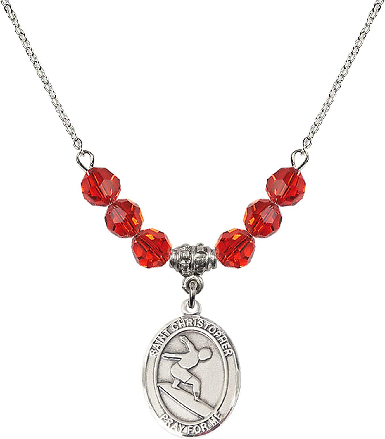Bonyak Jewelry 18 Inch Rhodium Plated Necklace w// 6mm Red July Birth Month Stone Beads and Saint Christopher//Surfing Charm