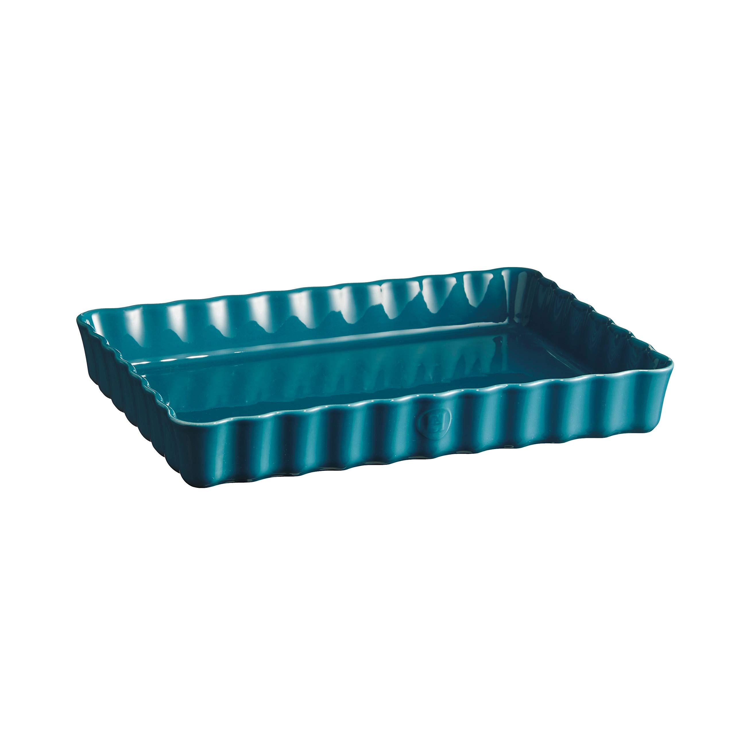 Emile Henry 606038 Large, Mediterranean Blue Rectangular Tart Dish, 2.5 qt,