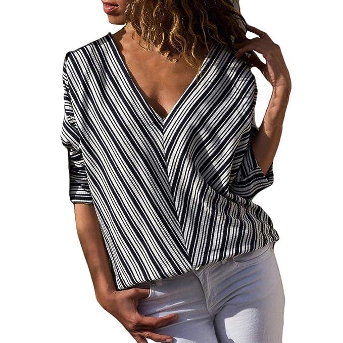 ... Belasdla Blusa De Mujer Camisa De Manga Larga con Cuello En V Blusas De Gasa Casual Camisa De ChifóN A Rayas con: Amazon.es: Ropa y accesorios