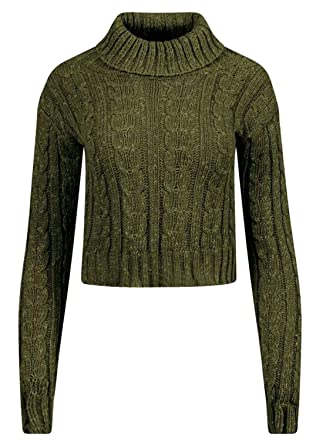 1e8f8590d9e711 Womens Polo Turtle Neck Cable Knit Jumper Long Sleeve Ladies Cropped Jumper  Top (Khaki