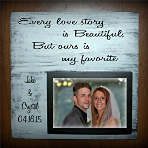 43LenaJon Every Love Story is Beautiful Wood Wall Decor Sign,but Ours My Favorite with Picture Frame Holds aCustom Wood Sign,Wooden Plaque Art for Easter,Home,Gardens, Coffee Shop,Porch.