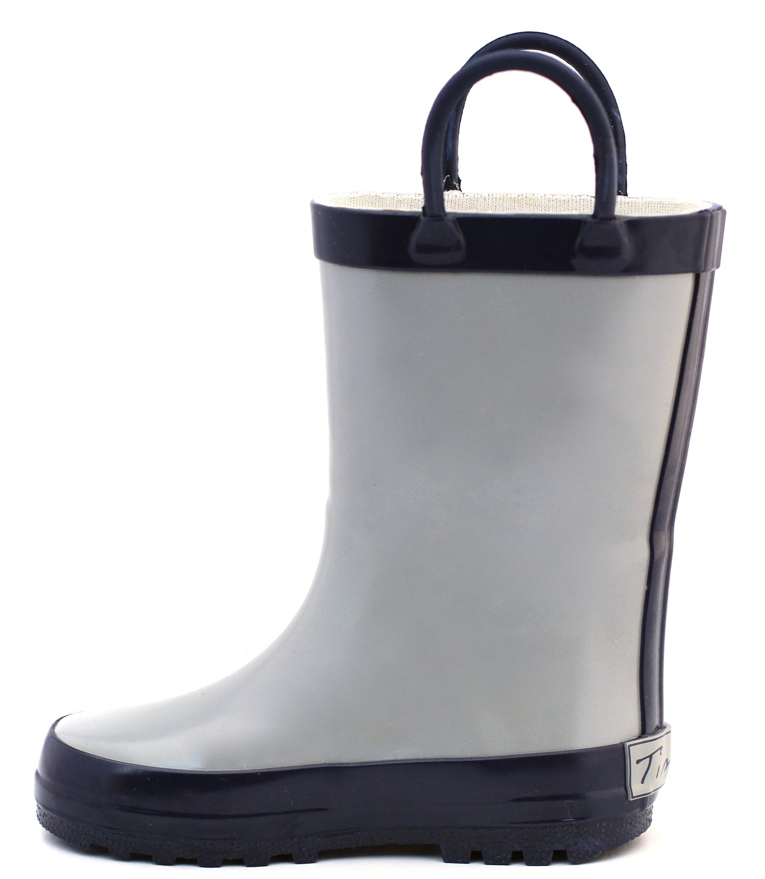 Timbee Gray & Navy Rubber Rain Boot Size 9