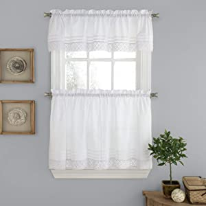 """Sweet Home Collection Kitchen Window Curtain 3 Piece Set with Valance and Choice of 24"""" or 36"""" Tier Pair Crochet White"""