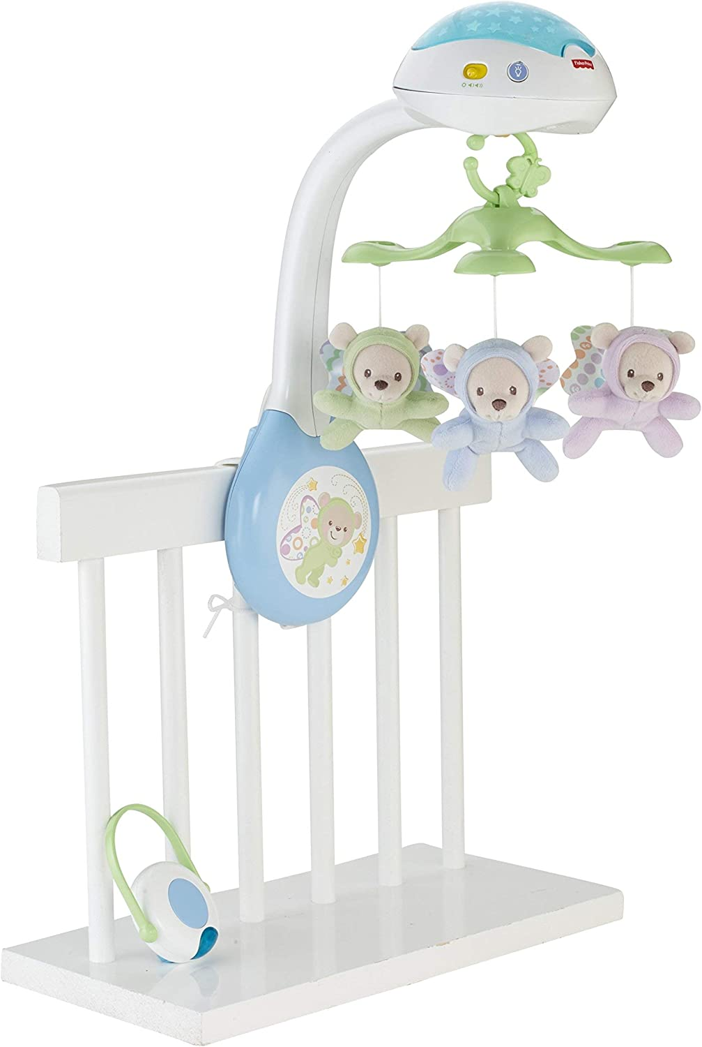 Fisher-Price- Butterfly Dreams 3-in-1 Projection Mobile Polar Móvil con ositos, juguetes bebe, Multicolor (Mattel CDN41)