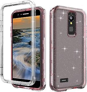 LG K30 Phone Case,LG Premier Pro Case,LG Phoenix Plus/Xpression Plus Case,CaseLime 3 in 1 Full-Body Glitter Bumper Case Shock Resistant Hybrid Soft Silicone Hard PC Cover (Light Pink)