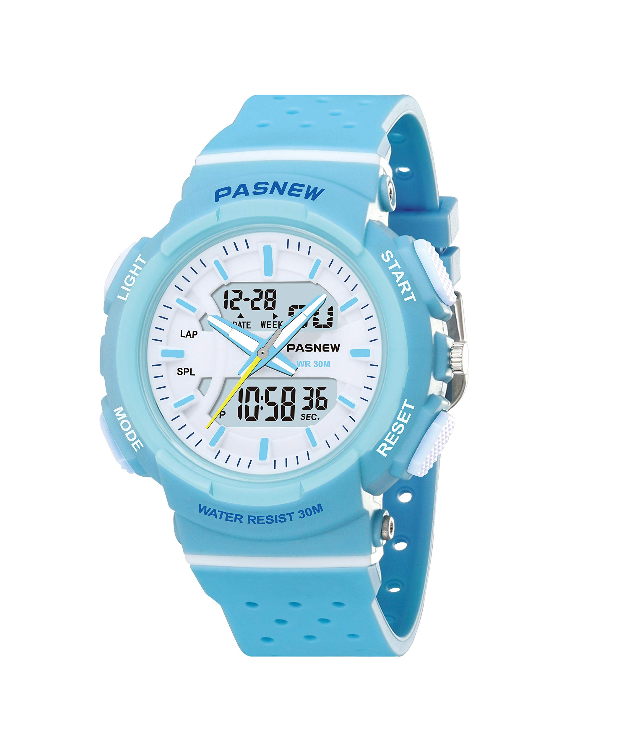 PASNEW Kid Watch Multi Function Digital-Analog Sport Watches for 7-Year Old or Above Children-LightBlue by PASNEW