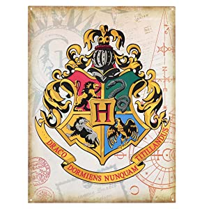 Open Road Brands Harry Potter Hogwarts School Crest Vintage Embossed Metal Wall Art Sign - an Officially Licensed Product Great Addition to Add What You Love to Your Home/Garage Decor