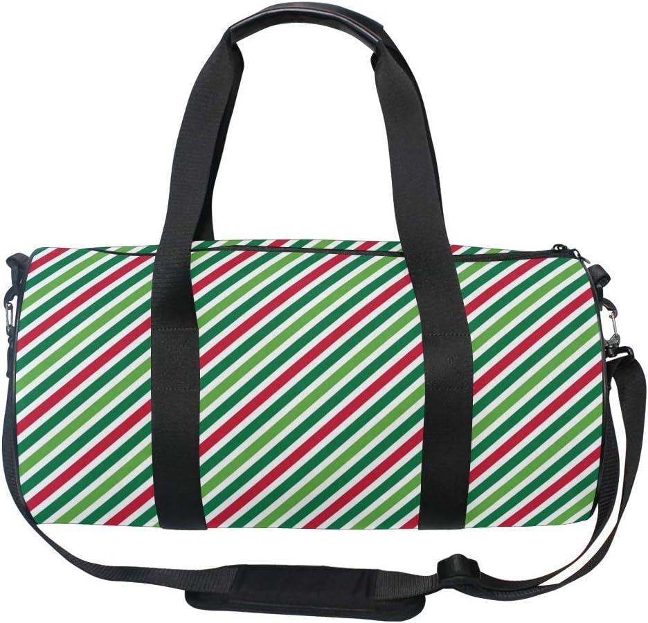 MALPLENA Christmas Color Red Ribbon Pattern Drum gym duffel bag women Travel Bag