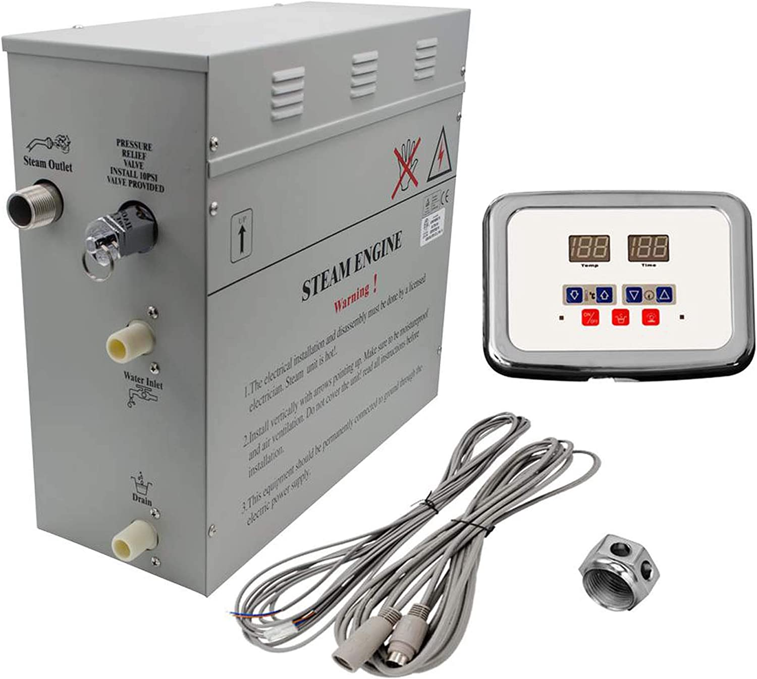 Amazon Com Superior 6kw Self Draining Steam Bath Generator With Waterproof Programmable Controls And Chrome Steam Outlet Home Improvement