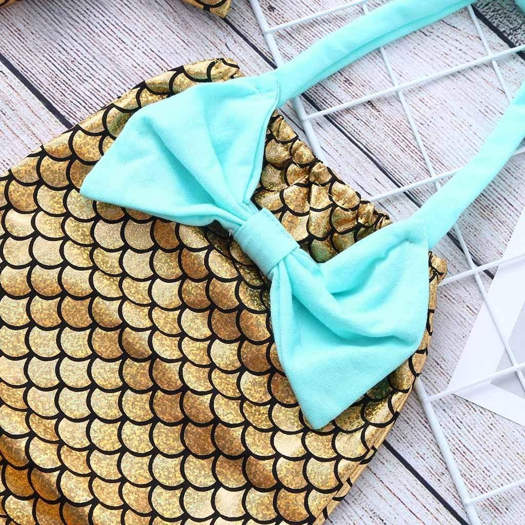 Transser Girls One Piece Swimsuits Mermaid Off Shoulder Beachwear Kids Sequins Swimming Costume and Headband