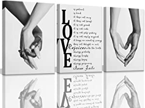 Canvas Wall Art for Bedroom Black and White Wall Art Decor for Home Walls Black Art Paintings for Wall Pictures for Bedroom Wall Decor for Couples 3 Pieces Canvas Art Wall Decor Set 12x16inchx3pcs