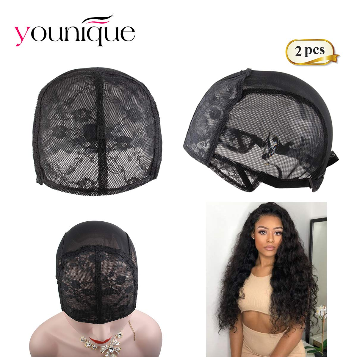 2fdf08eae25 2pcs Black Stretch Swiss Lace Wigs Caps With Adjustable Strap For Making  Wigs Adjustable Wig Cap