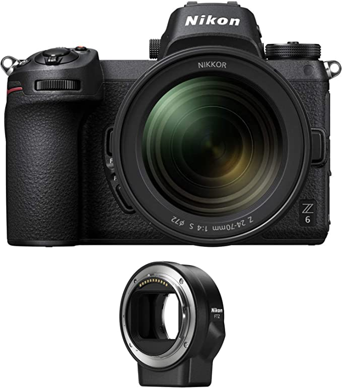Amazon.com : Nikon Z6 Mirrorless Camera with 24-70mm f/4 S Lens and Mount Adapter FTZ : Camera & Photo