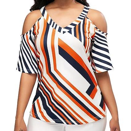 Longra☆ 2018 Moda para Mujer Casual Cuello en Frío con Cuello en V Camiseta Impresa