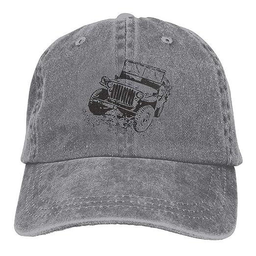 e92003e608c80 Image Unavailable. Image not available for. Color  Black Jeep Denim Hat  Adjustable Men Vintage Baseball Caps
