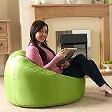 Bean Bag Bazaar® chaise pouf poire lambrissée XL pour l'intérieur/ l'extérieur CITRON VERT- pouf poire grand