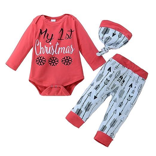 4ed82f67e Amazon.com  YUSWISH Baby Boys Girls Xmas Romper 3pcs Outfit My First ...